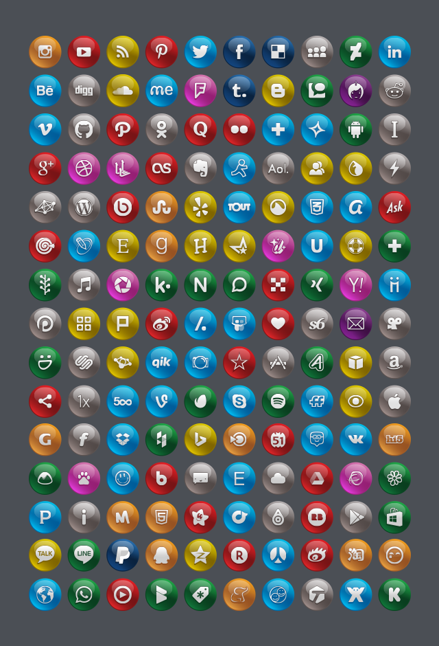 150-Free-High-Quality-Glossy-Social-Media-Icons