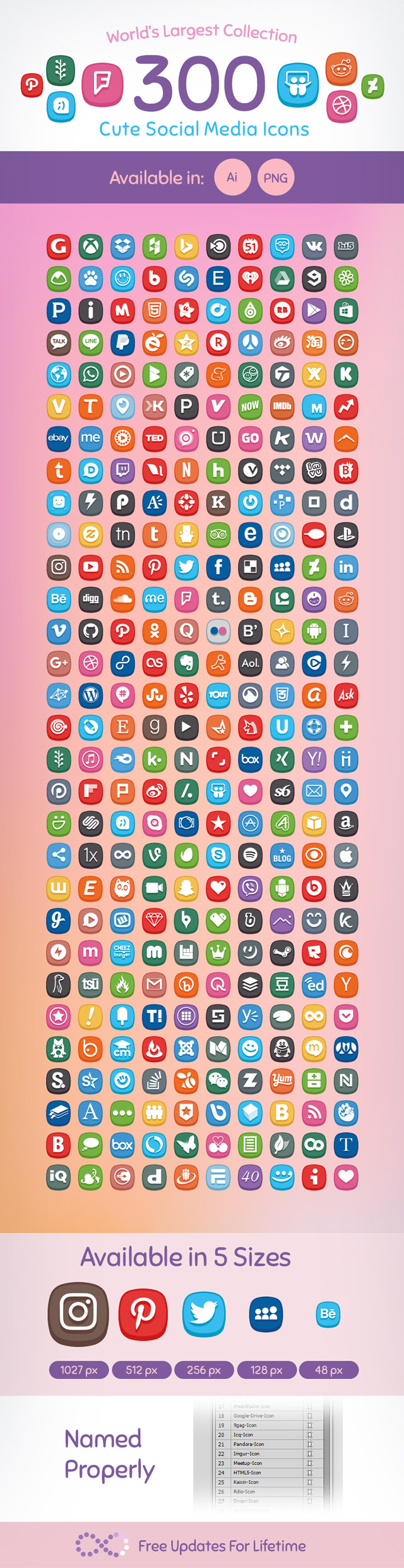 300 Cute Social Media Icons 2017 World S Largest Collection Social Media Icons
